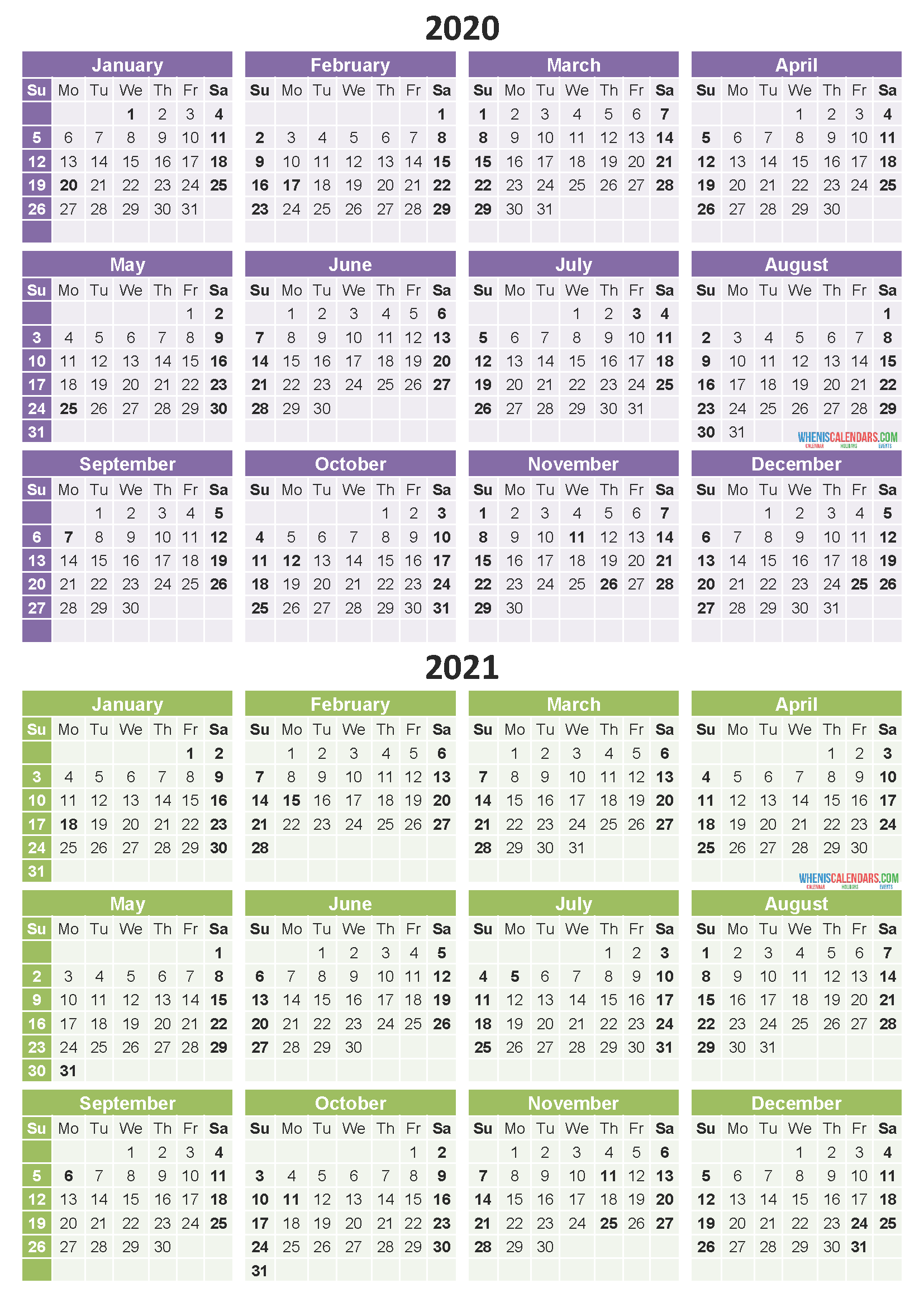 Free Printable 2020 2021 Calendar with Holidays PDF, Word