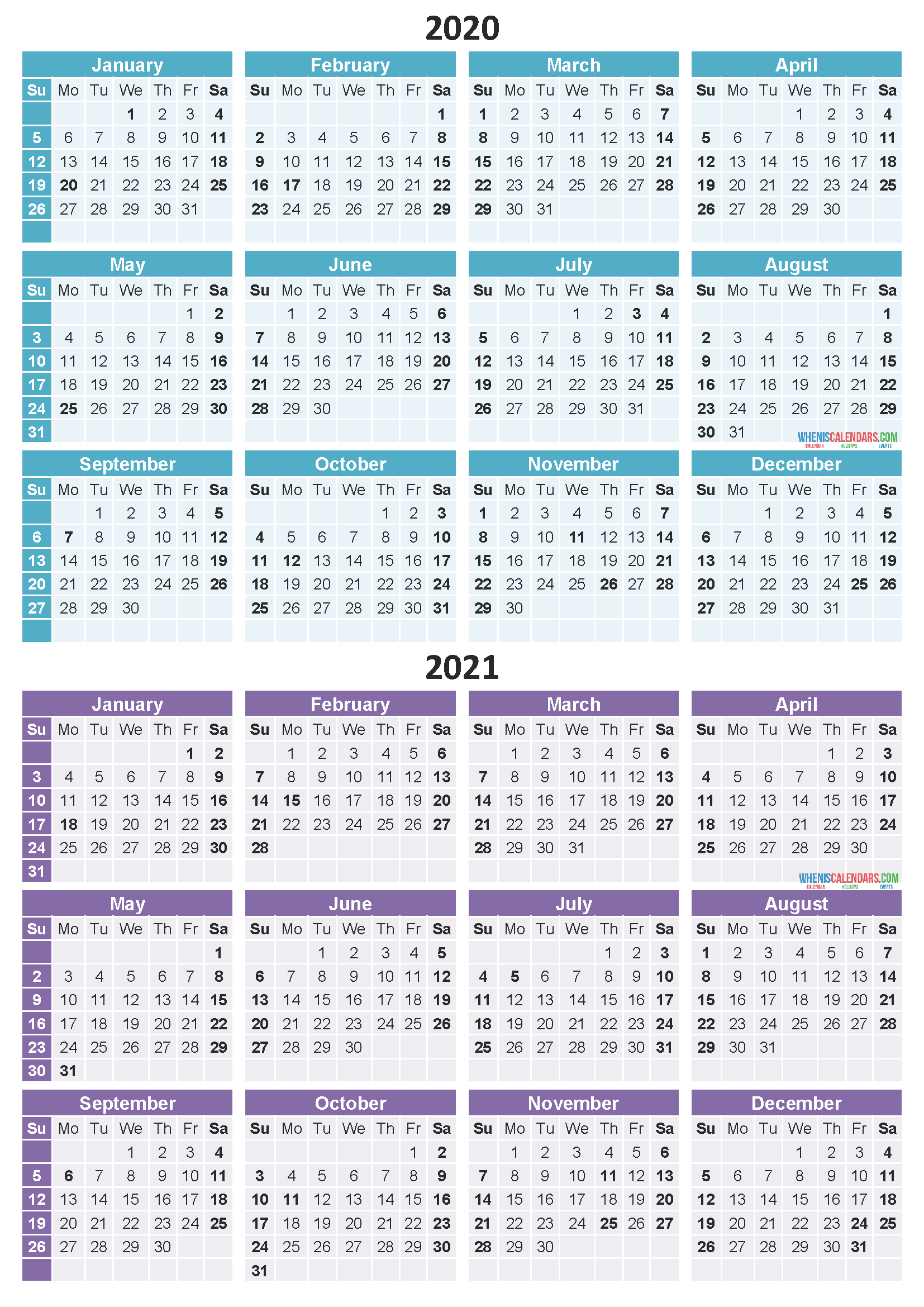 2020 and 2021 Calendar Printable Free Download Word, PDF, Image