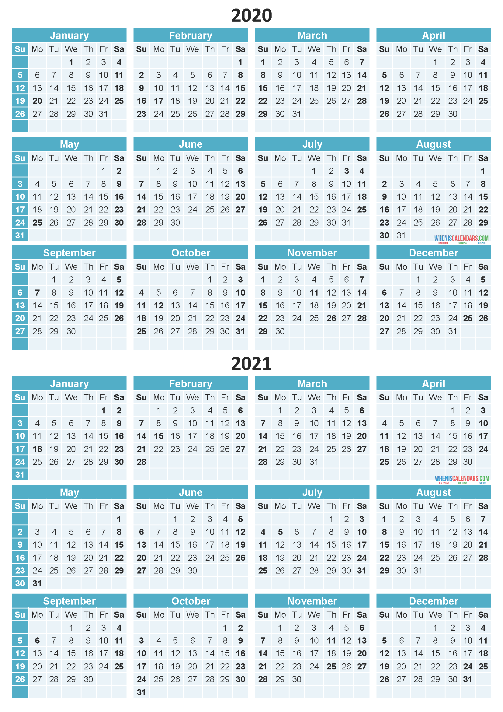 Free Printable 2020 and 2021 Calendar with Holidays PDF ...