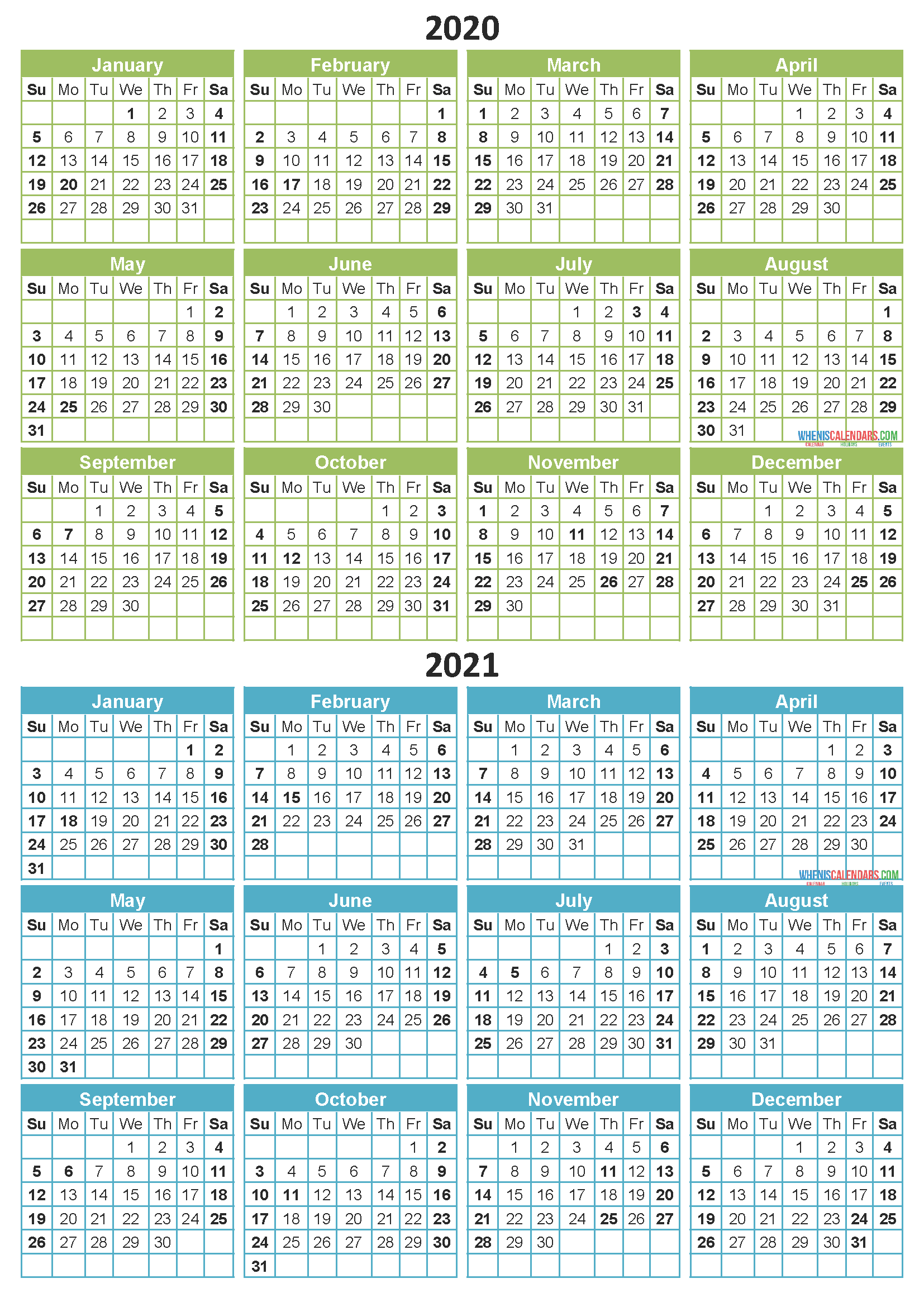 Free 2020 and 2021 Calendar Printable Two Year Calendar