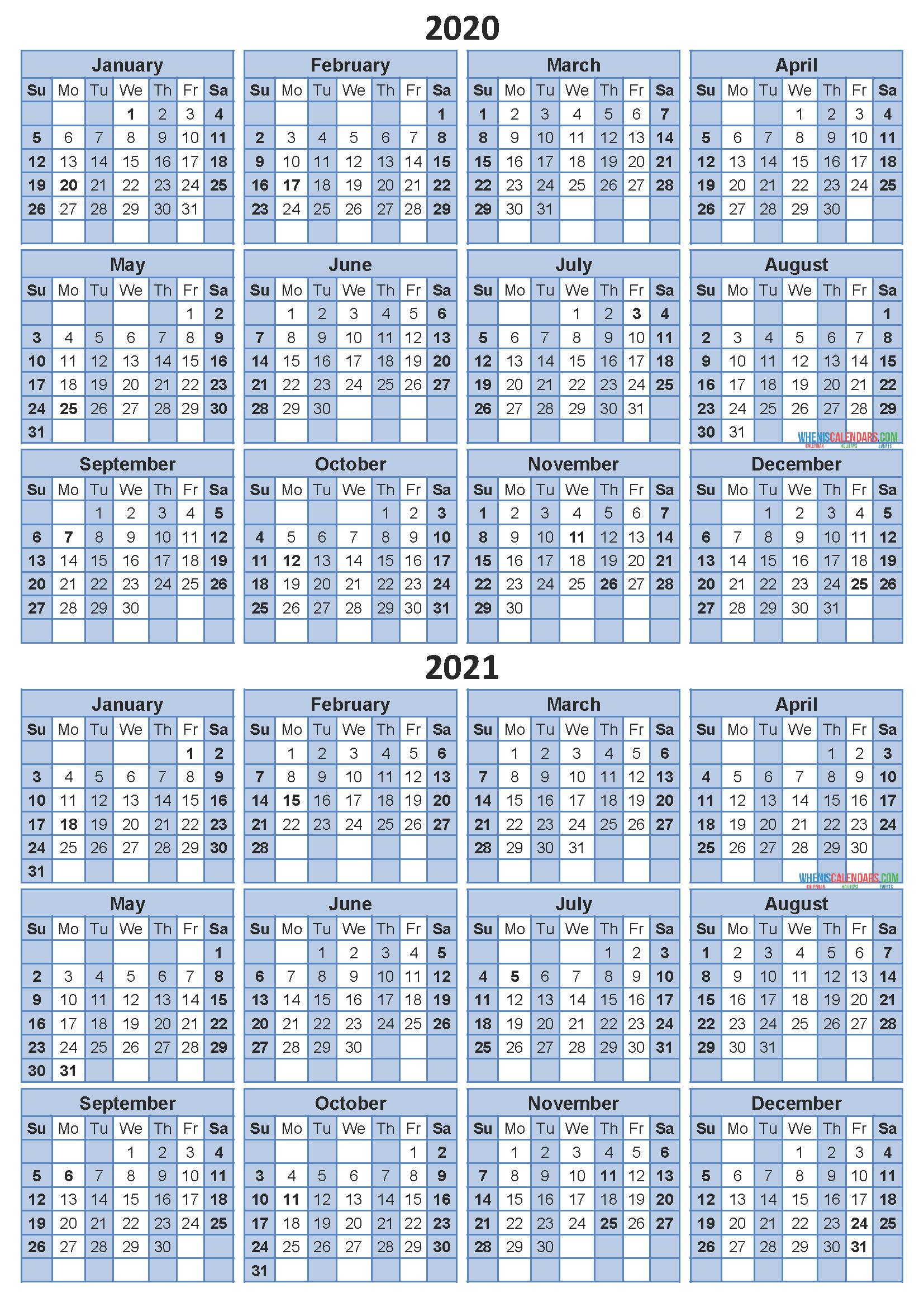Free 2020 and 2021 Calendar Printable Two Year Calendar ...