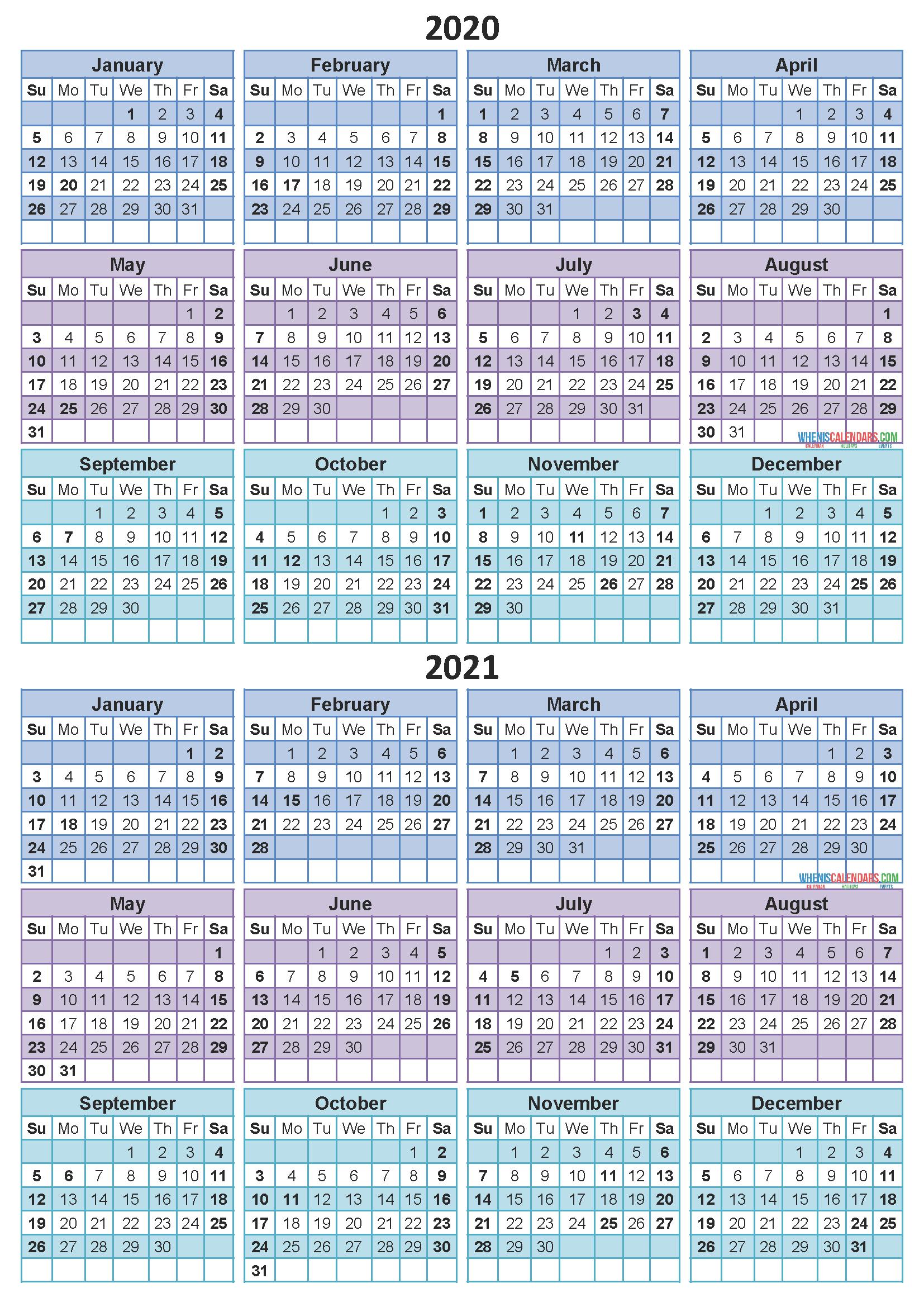 Printable Calendar 2020 2021 Two Year Per Page Free PDF ...