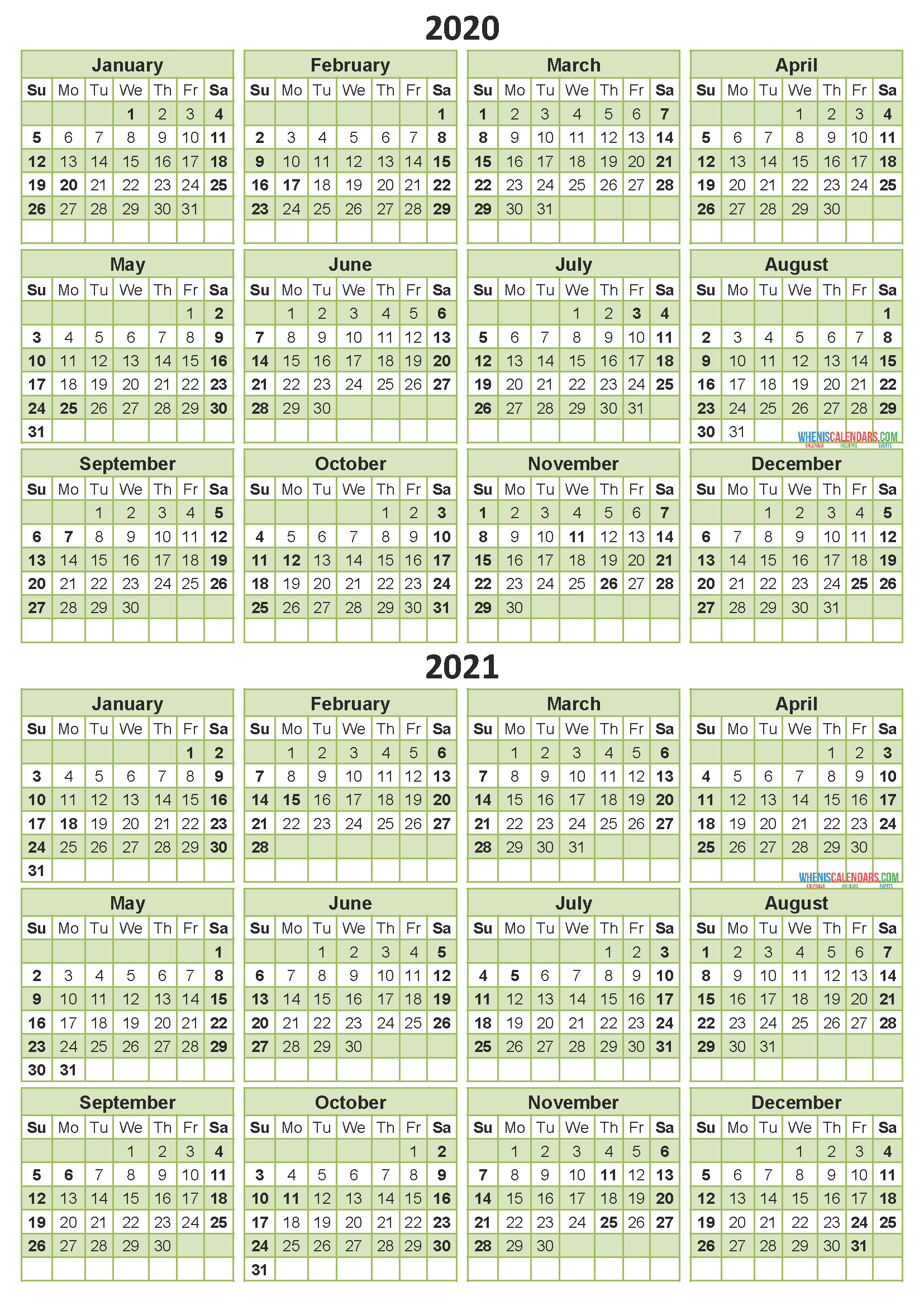 2020 and 2021 Calendar Printable with Holidays Free Download