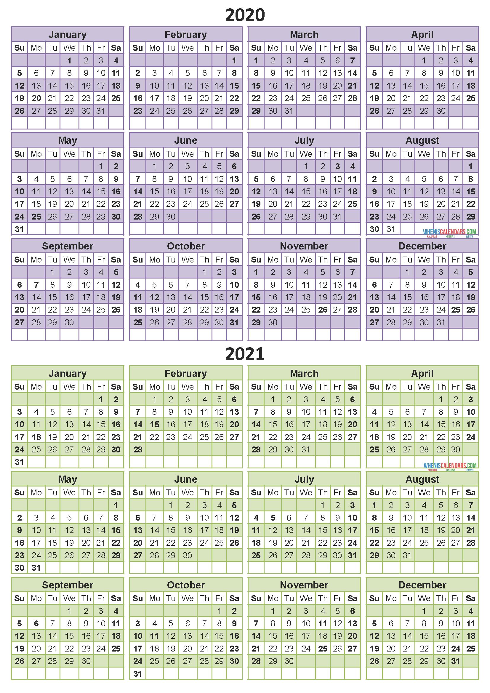2 Year Calendar Printable 2020 2021 Word, PDF, Image ...