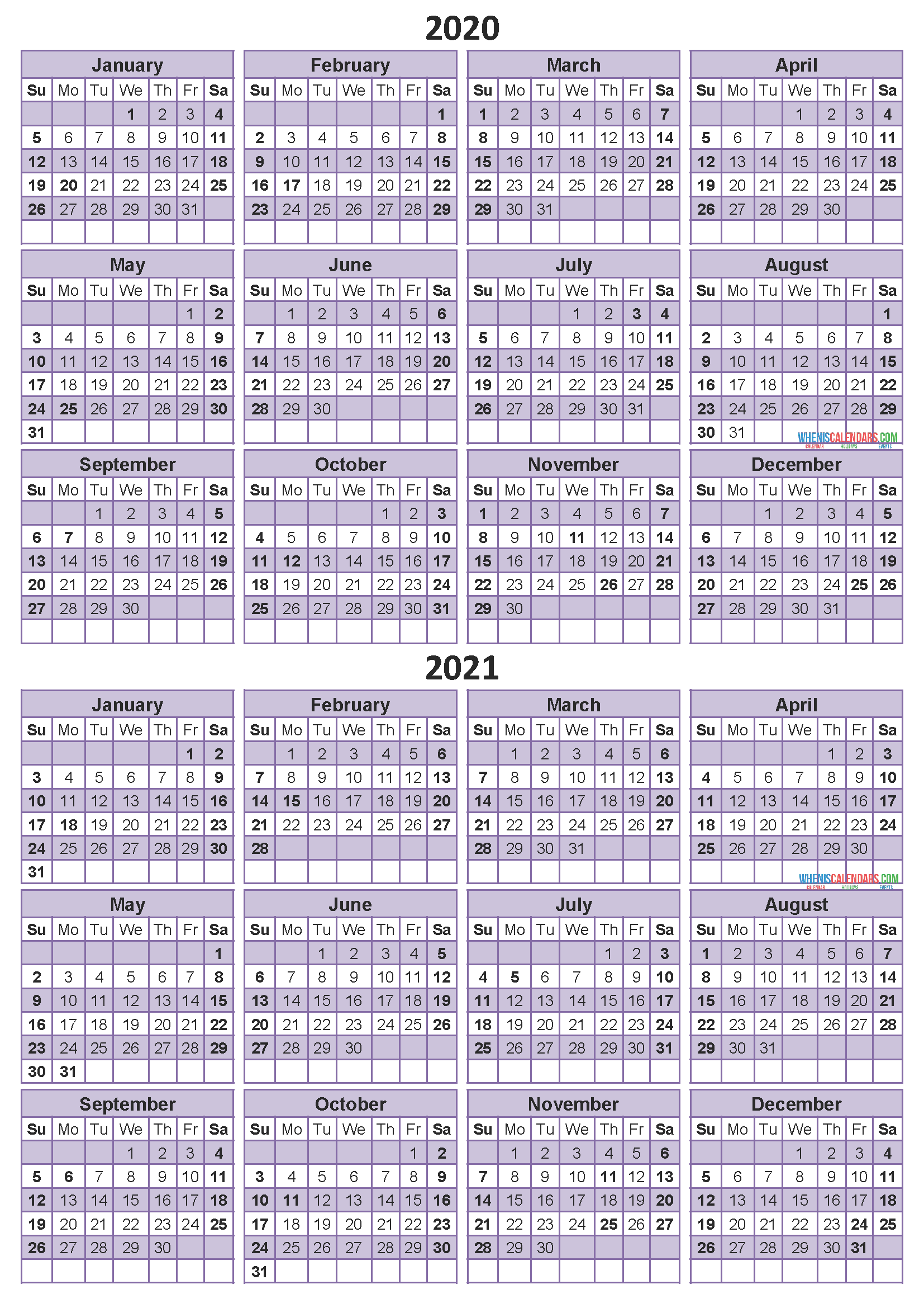 Printable Calendar 2020 2021 Two Year Per Page Free PDF, Word