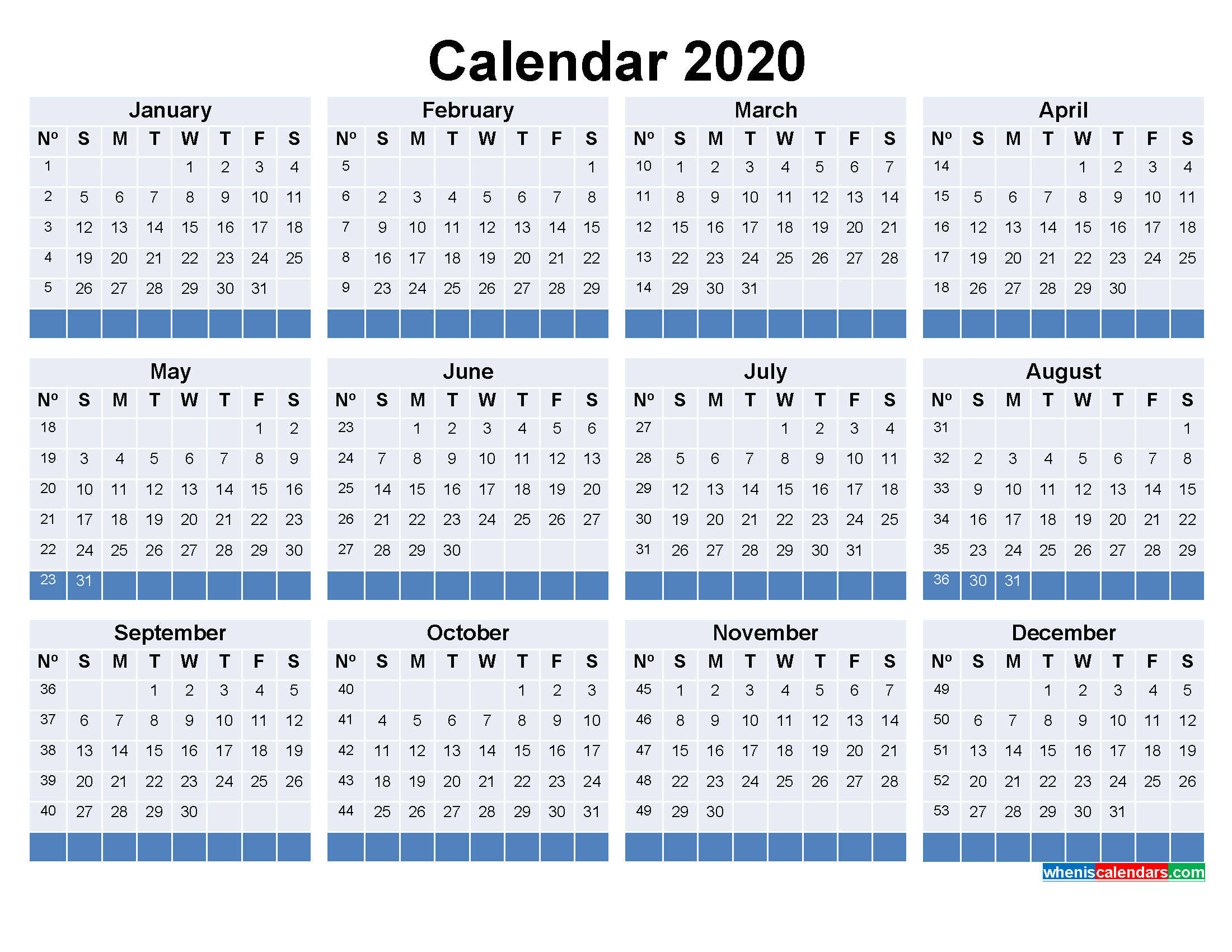 Free Printable Calendar with Week Numbers 2020