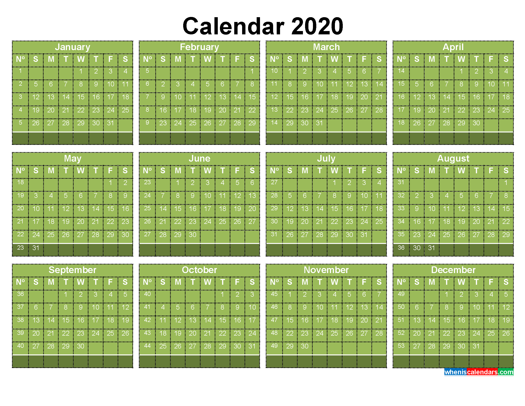 Free 2020 Calendar with Week Numbers Printable