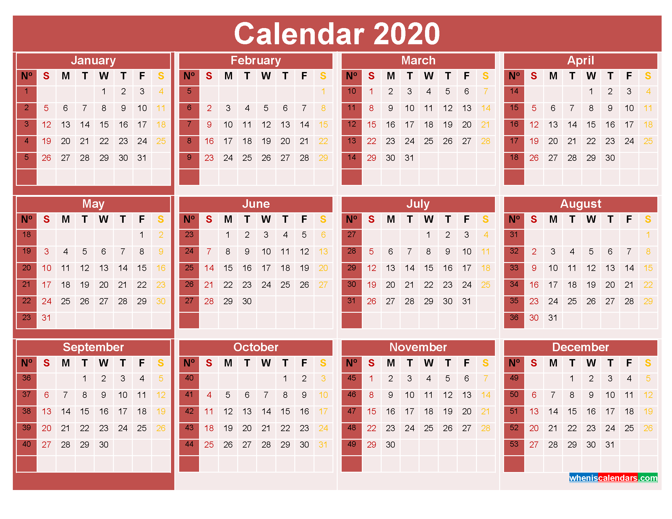 2020 Calendar with Week Numbers Printable Word, PDF