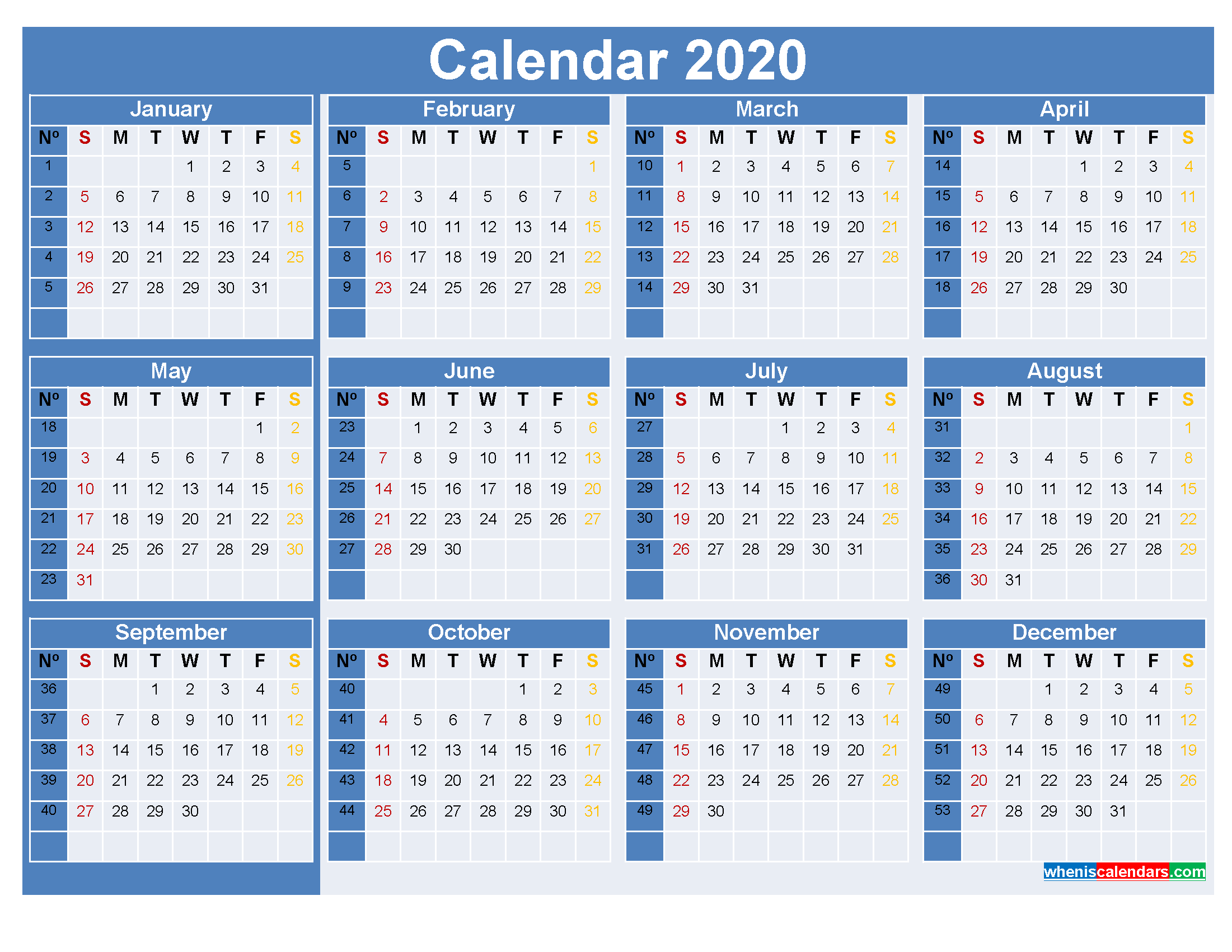 Printable Yearly Calendar 2020 with Week Numbers