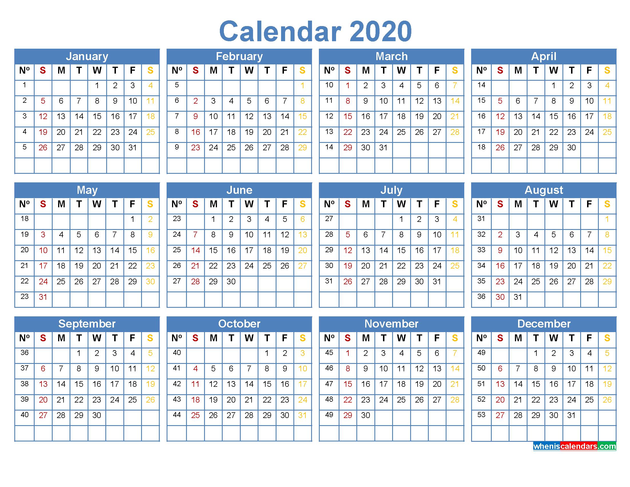 excel calendar with week numbers