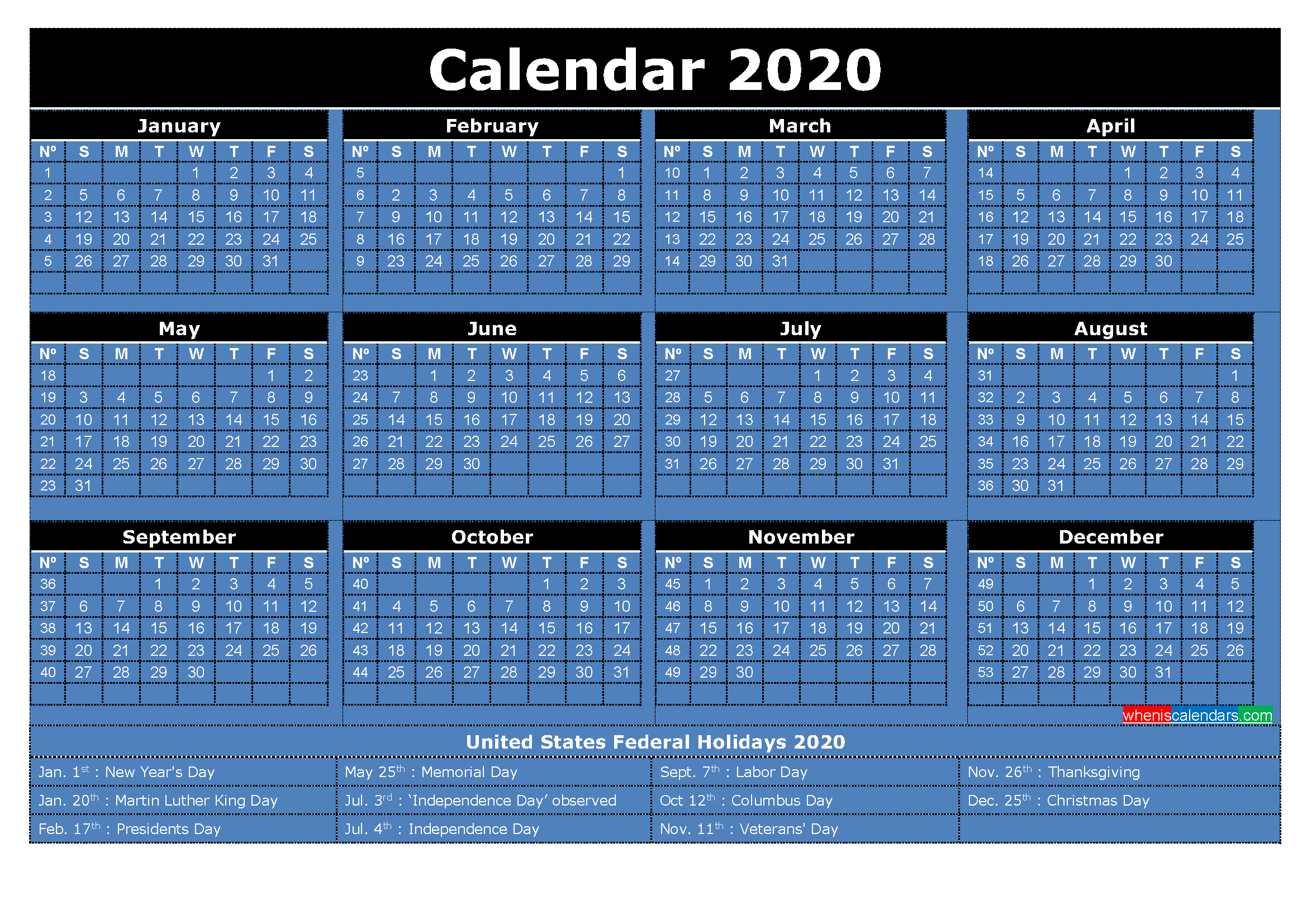 2020 Free Printable Calendar with Holidays Word, PDF