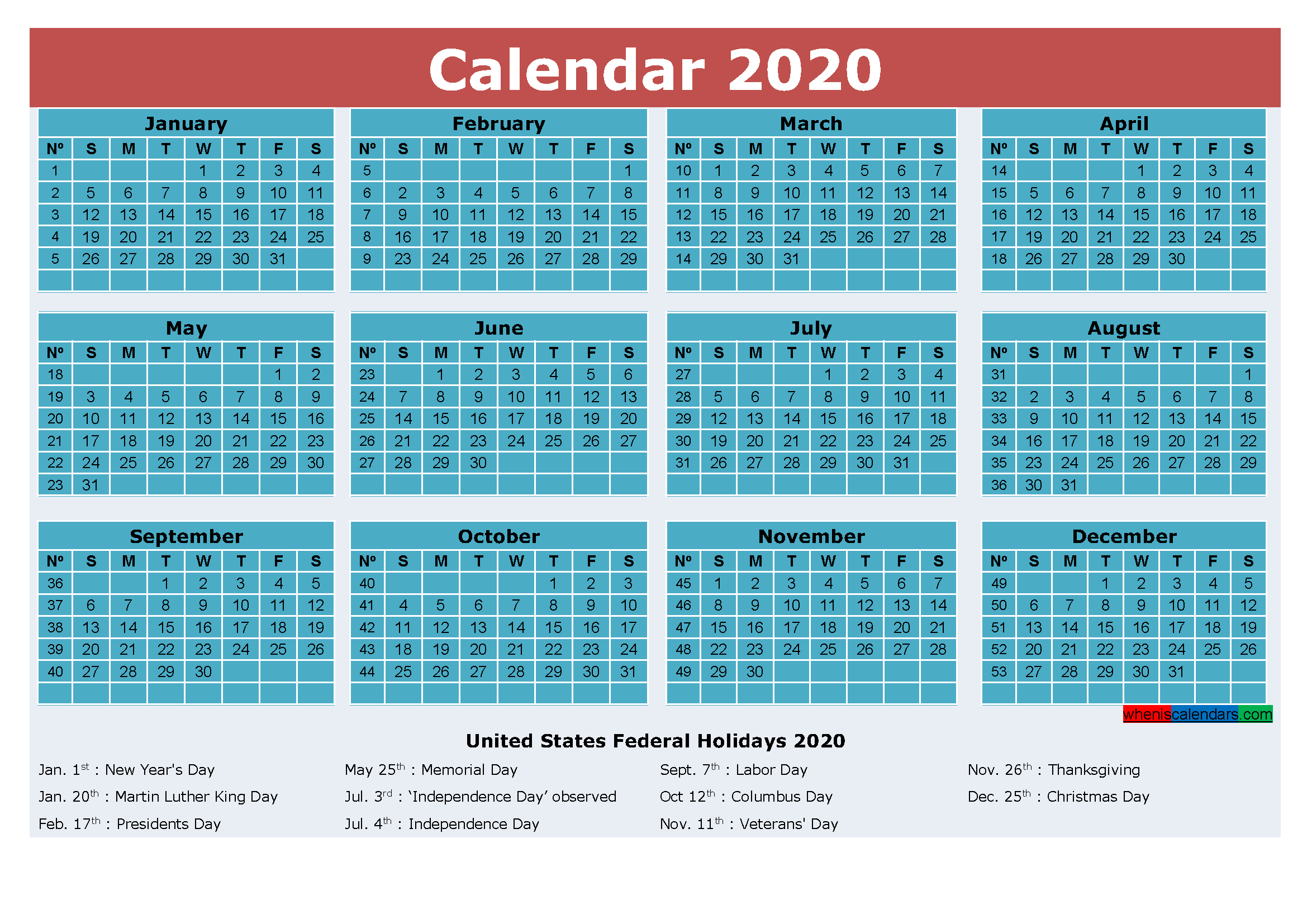 Free Printable 2020 Calendar with Holidays Word, PDF