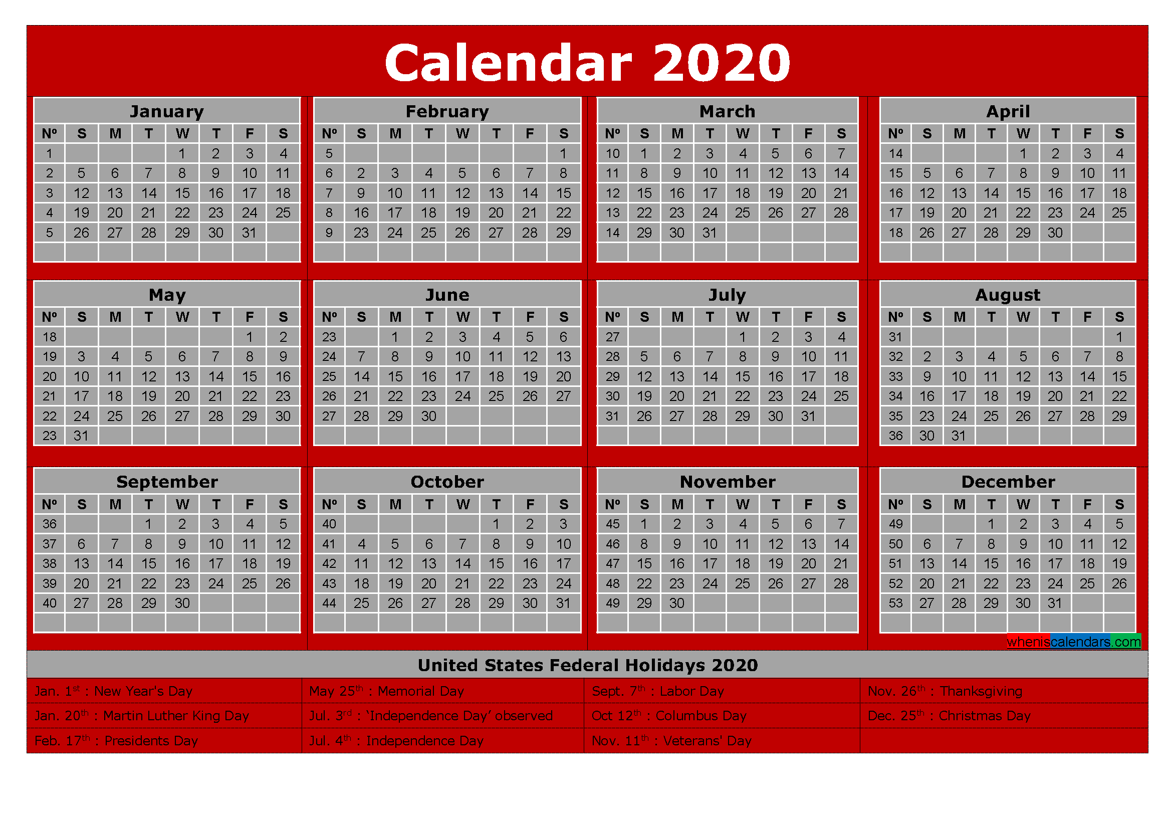 Printable Yearly Calendar 2020 with Holidays Word, PDF