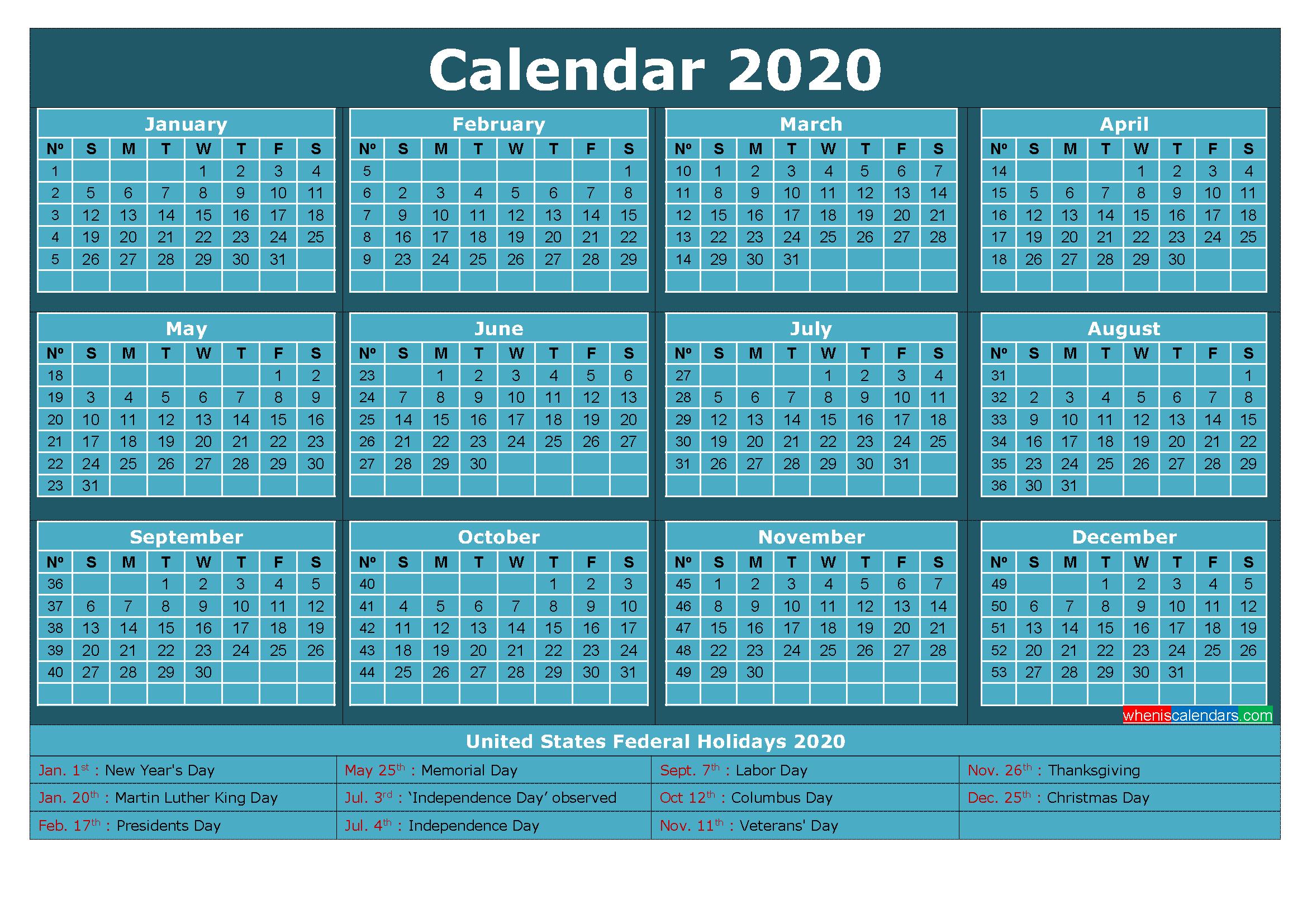 Free Printable Calendar with Holidays 2020 Word, PDF