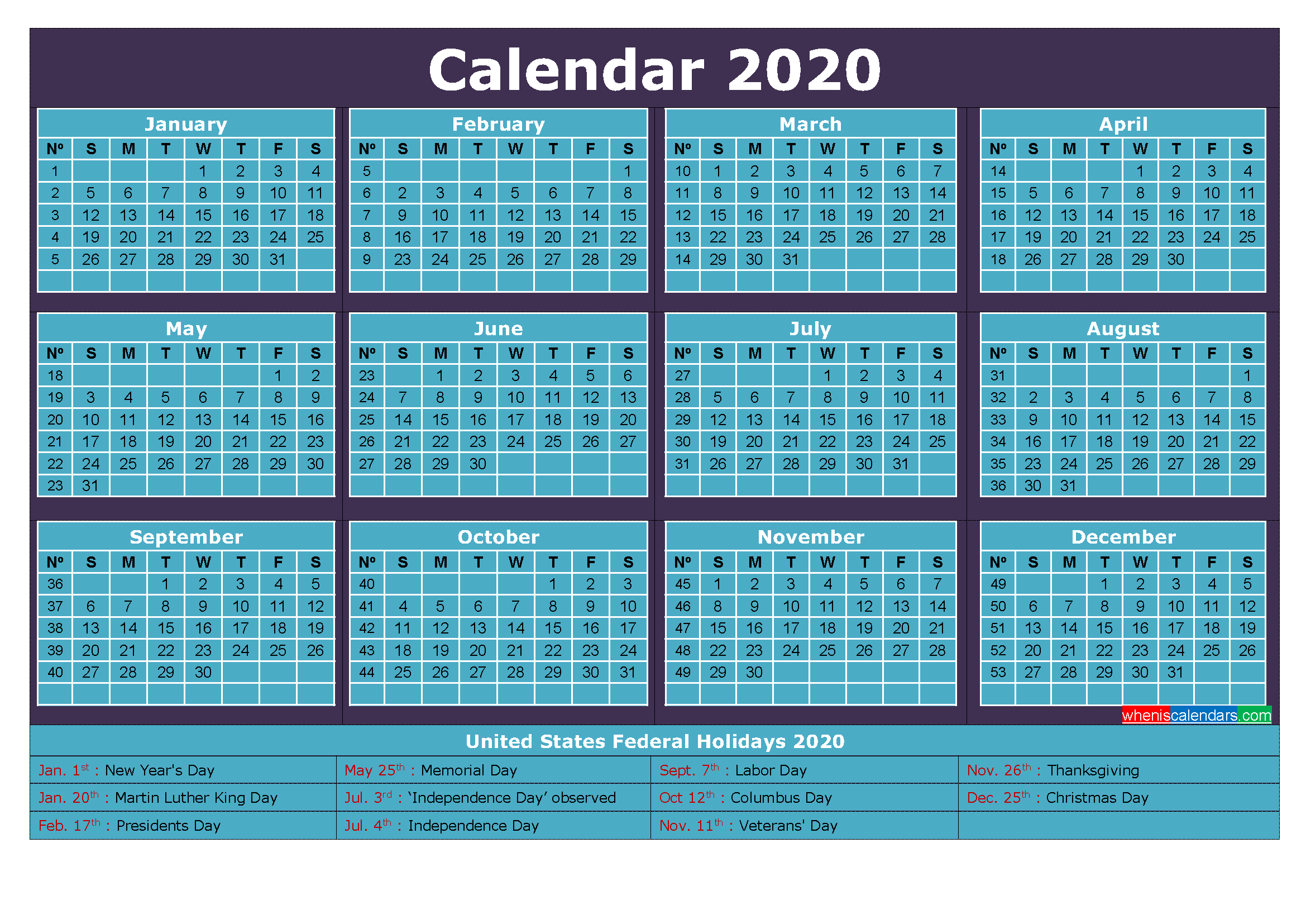 2020 Calendar with Holidays Printable Word, PDF