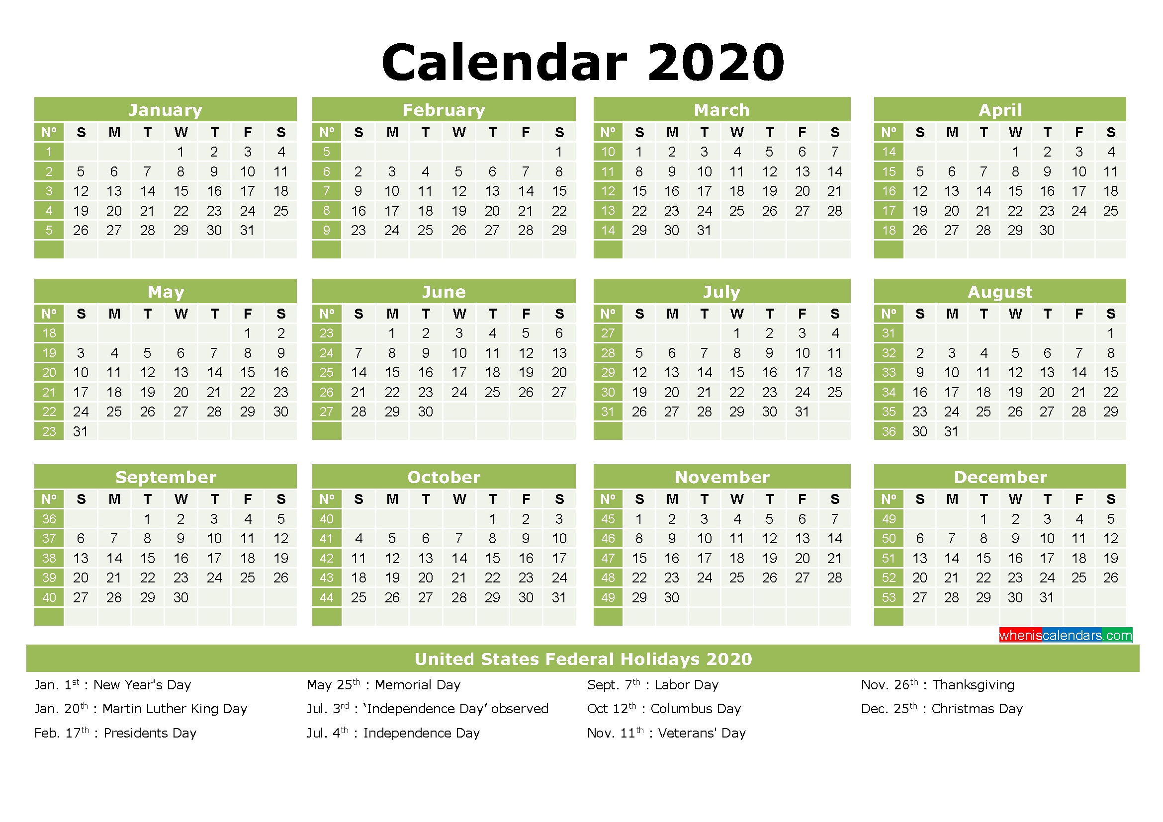 2020 Calendar with Holidays Printable Word, PDF
