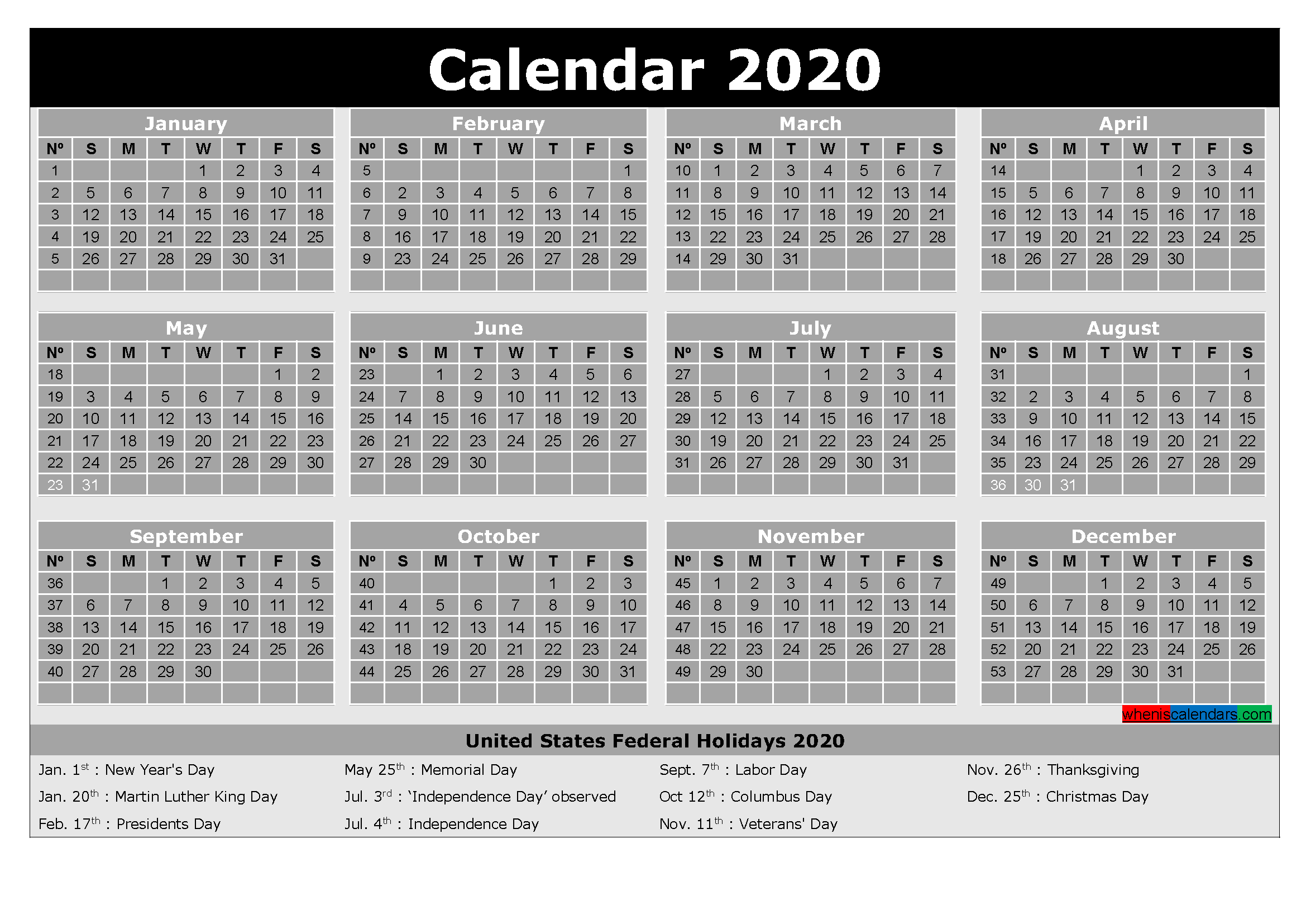 2020 Free Printable Calendar with Holidays Word, PDF