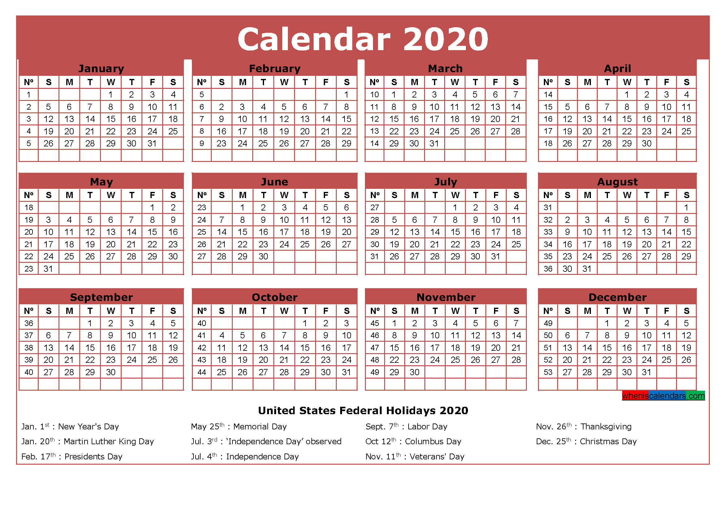 Free Printable Calendar with Holidays 2020 Word, PDF