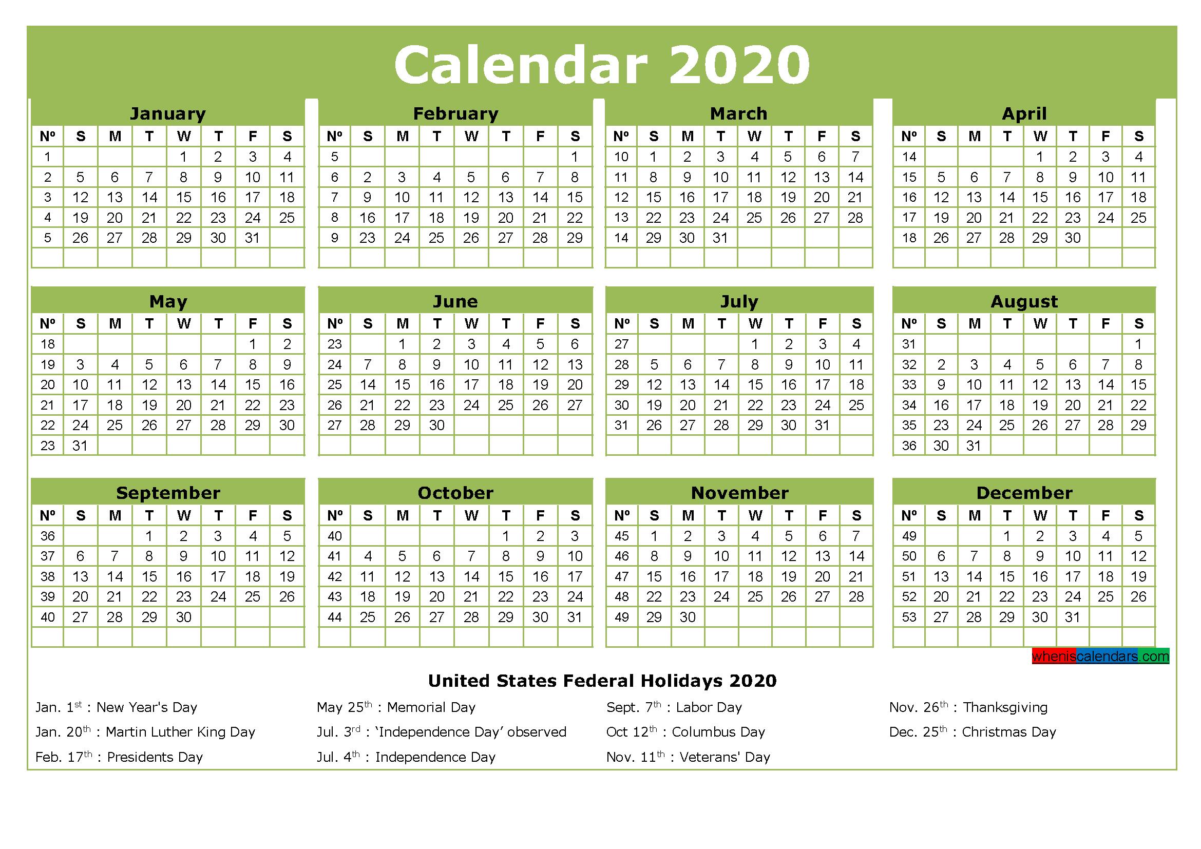 Free Printable 2020 Calendar with Holidays Word, PDF