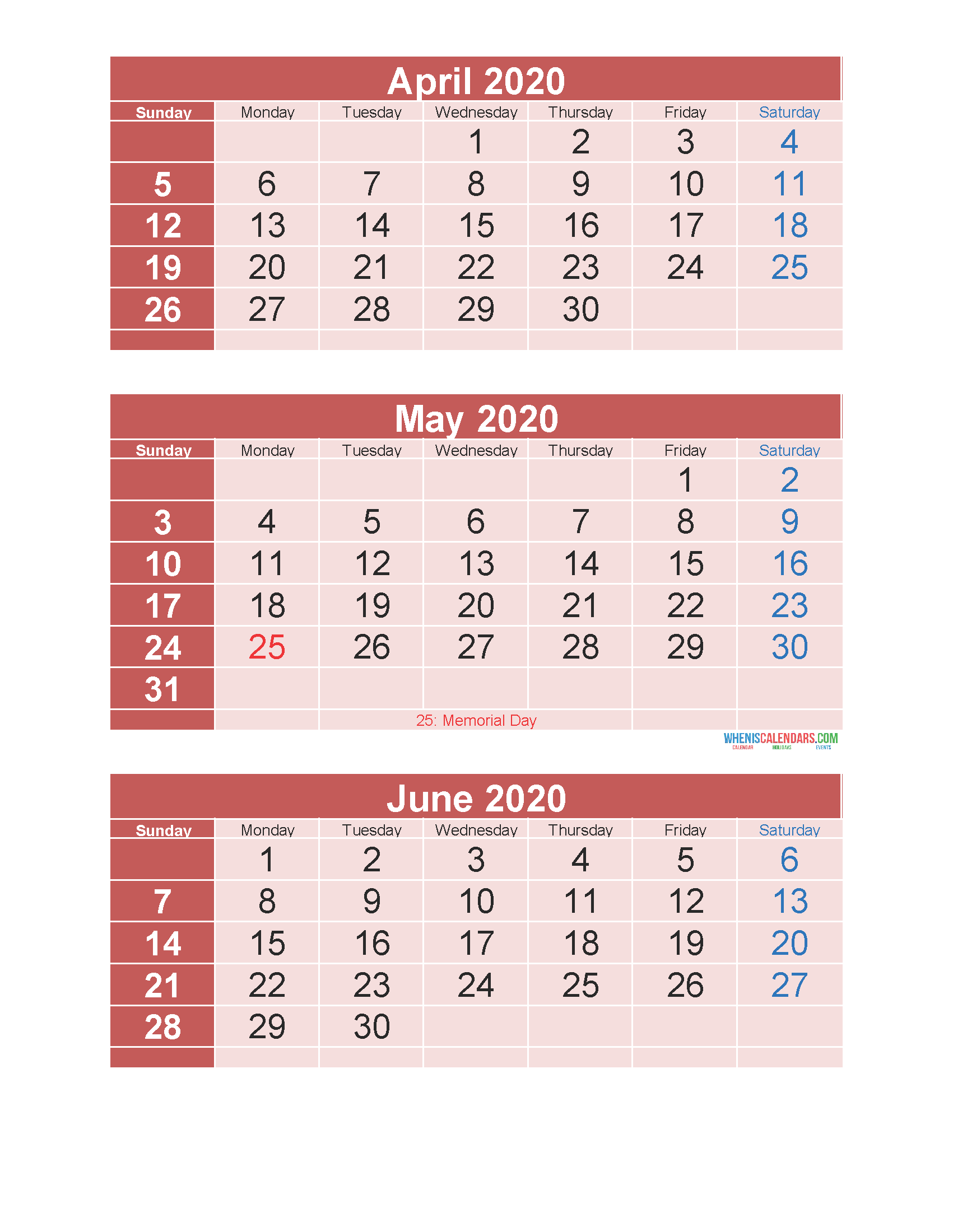 April May June 2020 Calendar 3 Months Per Page Printable