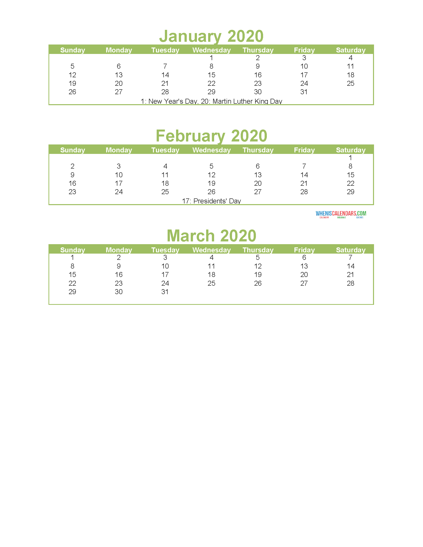 Free Printable 3 Month Calendar 2020 Jan Feb Mar