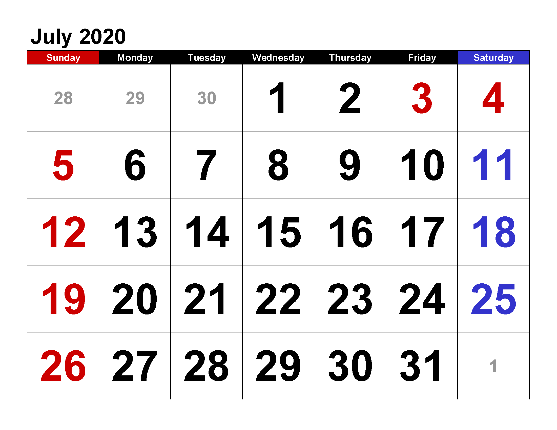 Printable Calendar Template July 2020 Calendar large numerals