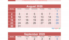 3 Month Calendar 2020 Printable July August September Printable