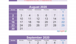 Printable Calendar July August September 2020 3 Months Per Page