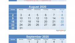 Free Printable 3 Month Calendar 2020 July August September
