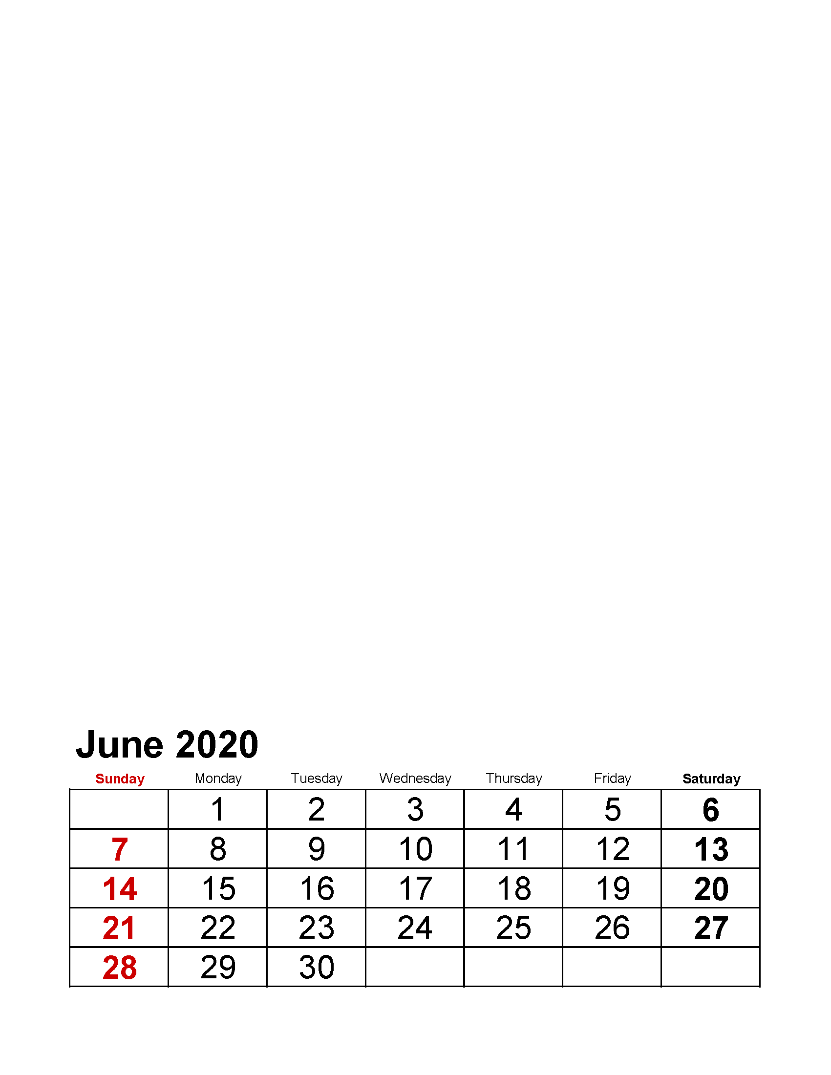 Printable June 2020 Photo Calendar with Holidays Large Numerals