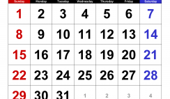 Printable Calendar Template March 2020 Calendar large numerals