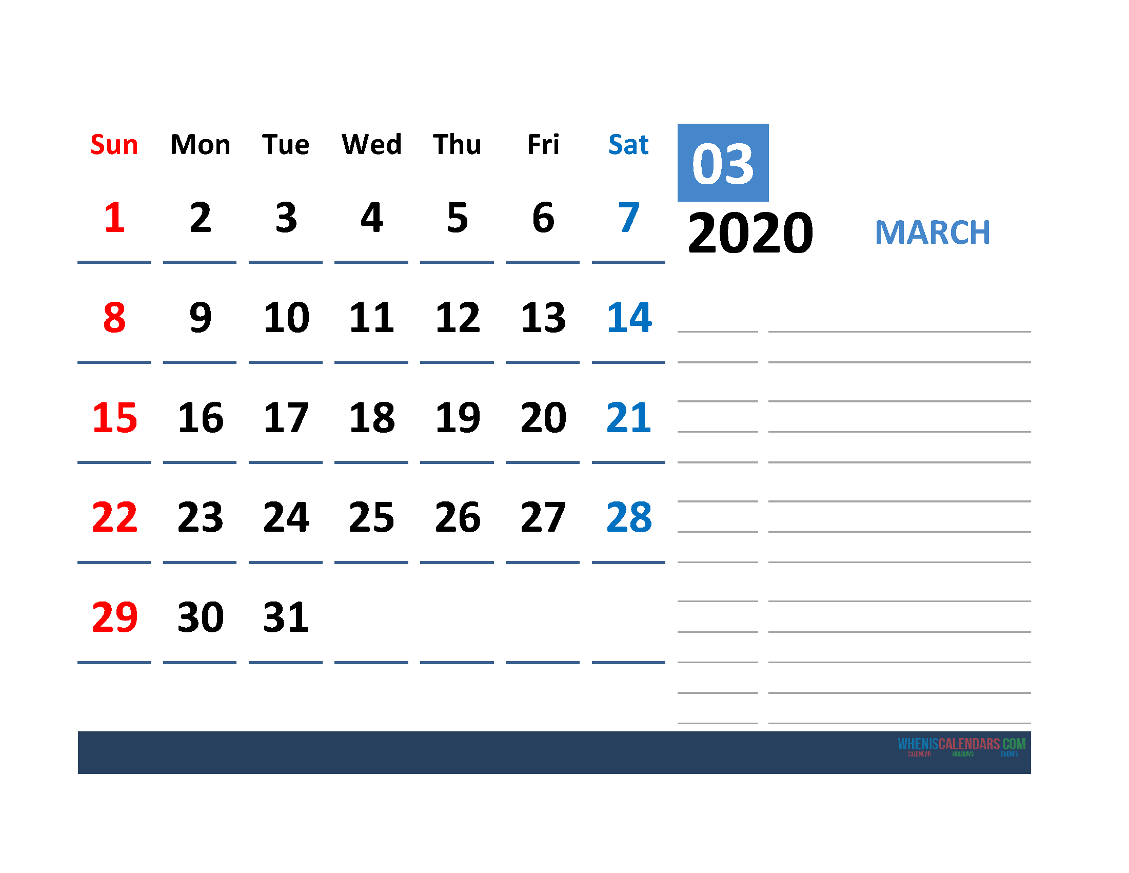 Printable Calendar Template March 2020 Calendar with space for notes
