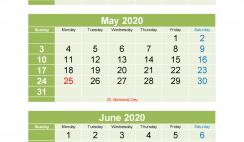 March April May June 2020 Calendar Printable Free Download