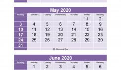 Free Calendar 2020 March April May June Printable