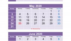 Printable Calendar 2020 March April May June Excel