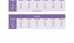 Calendar 2020 March April May June as Excel