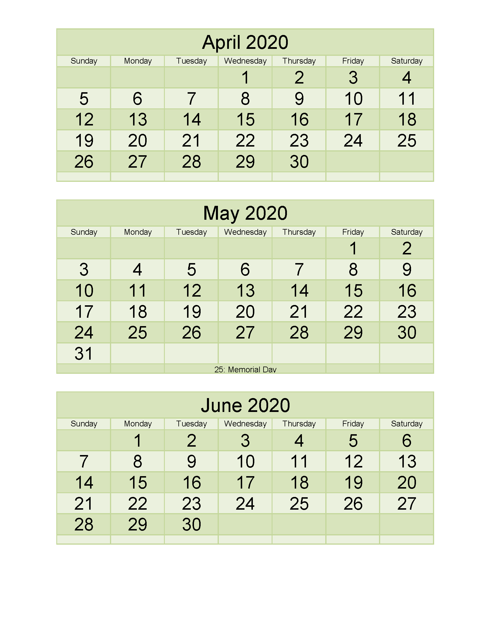 Free Calendar 2020 March April May June Printable