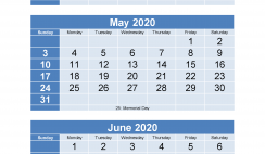 March April May June 2020 Calendar with Holidays for Free