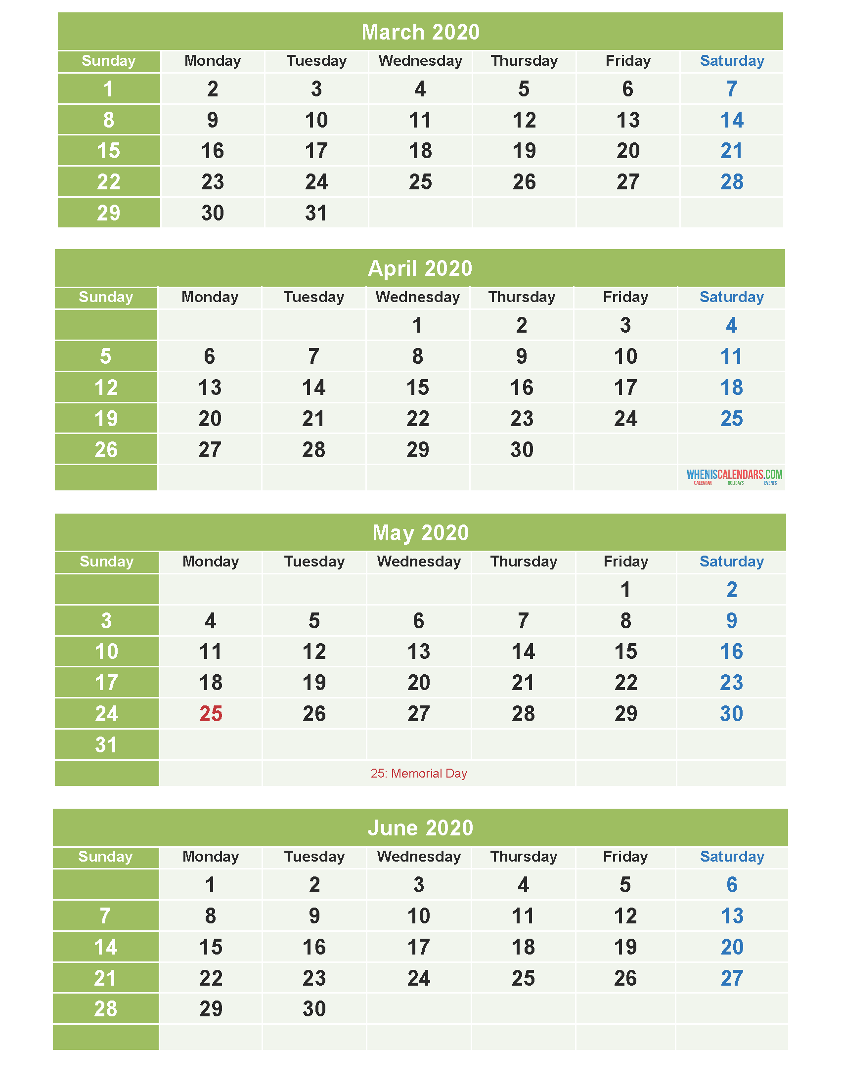 March April May June 2020 Calendar Printable Free Download