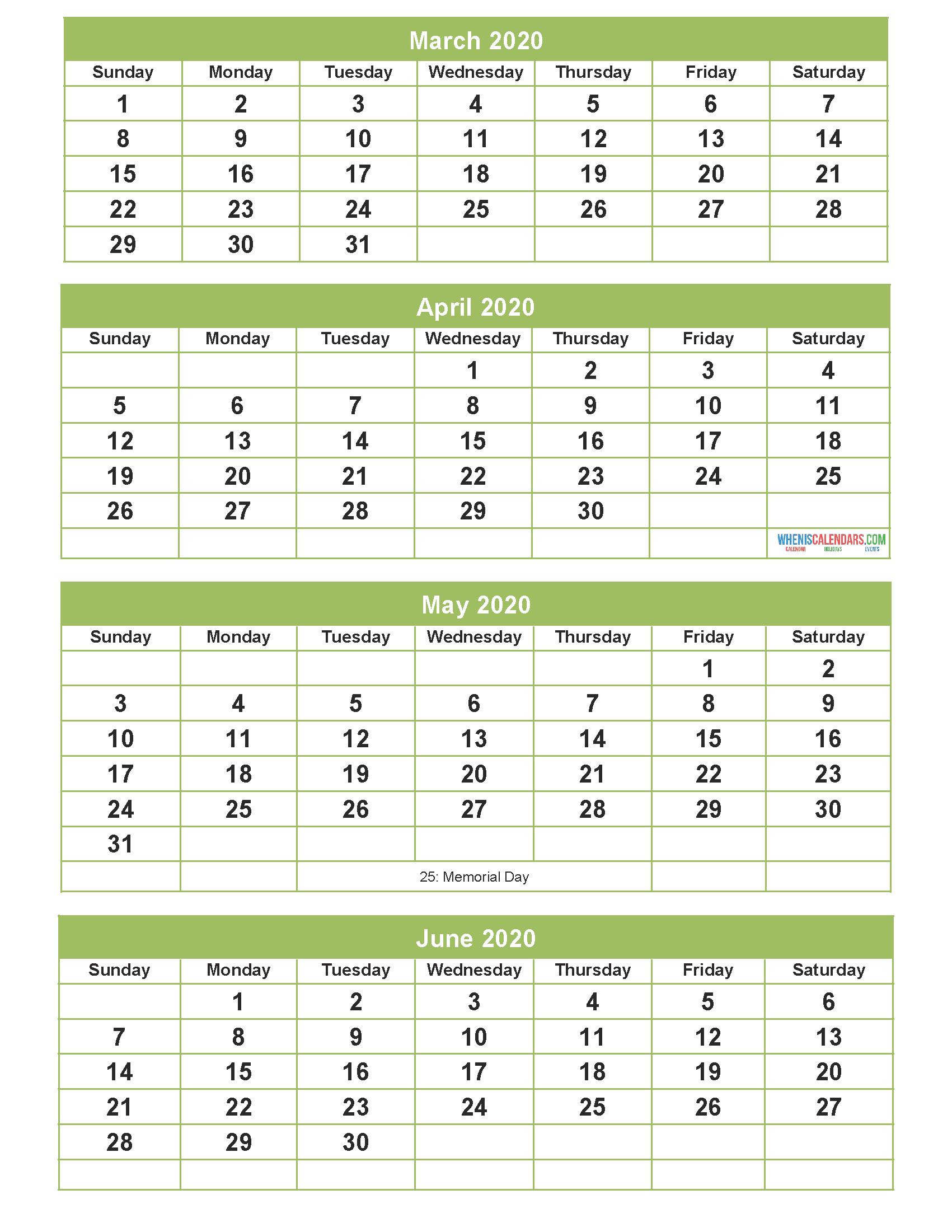 Printable Calendar 2020 March April May June Word  Pdf  Image