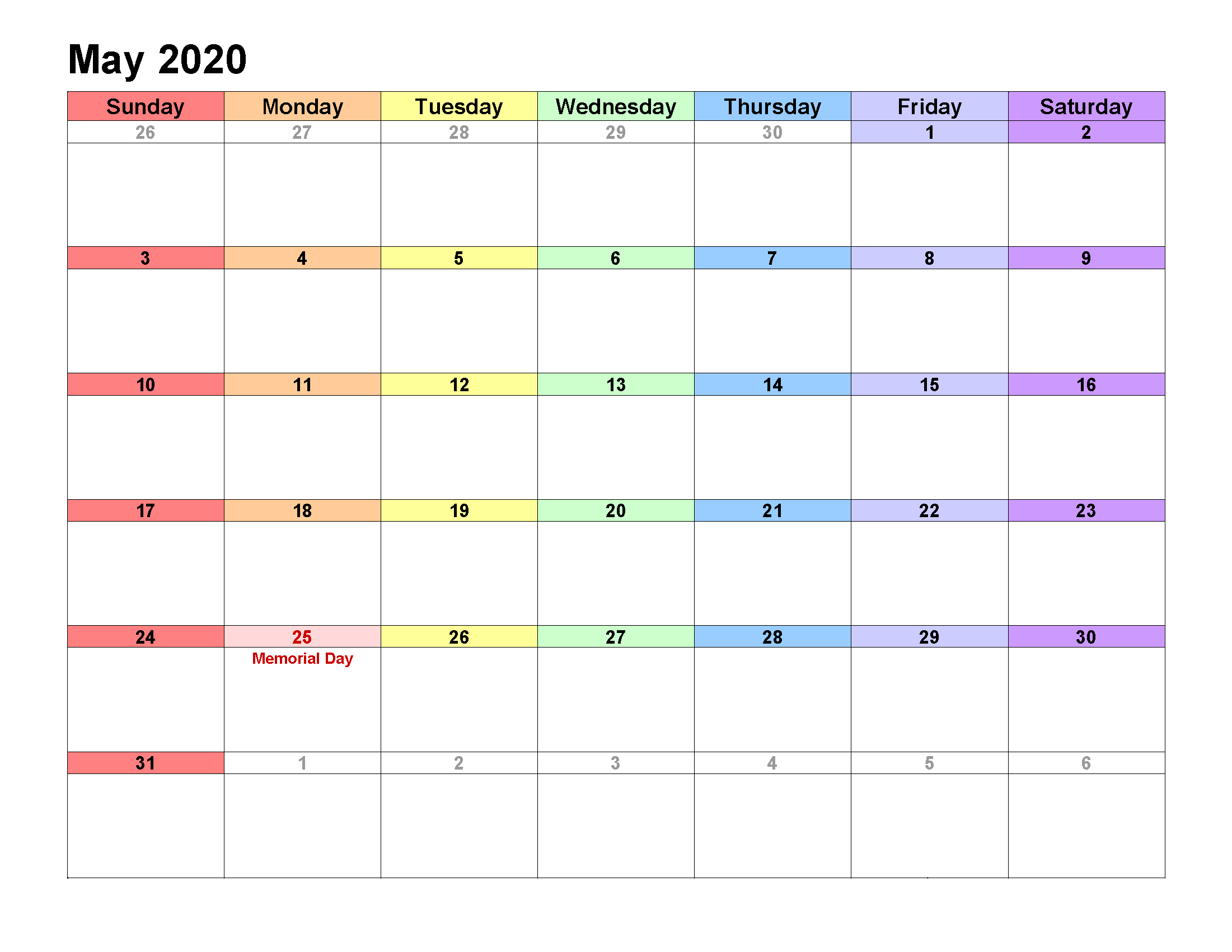 Printable Calendar Template May 2020 Calendar landscape