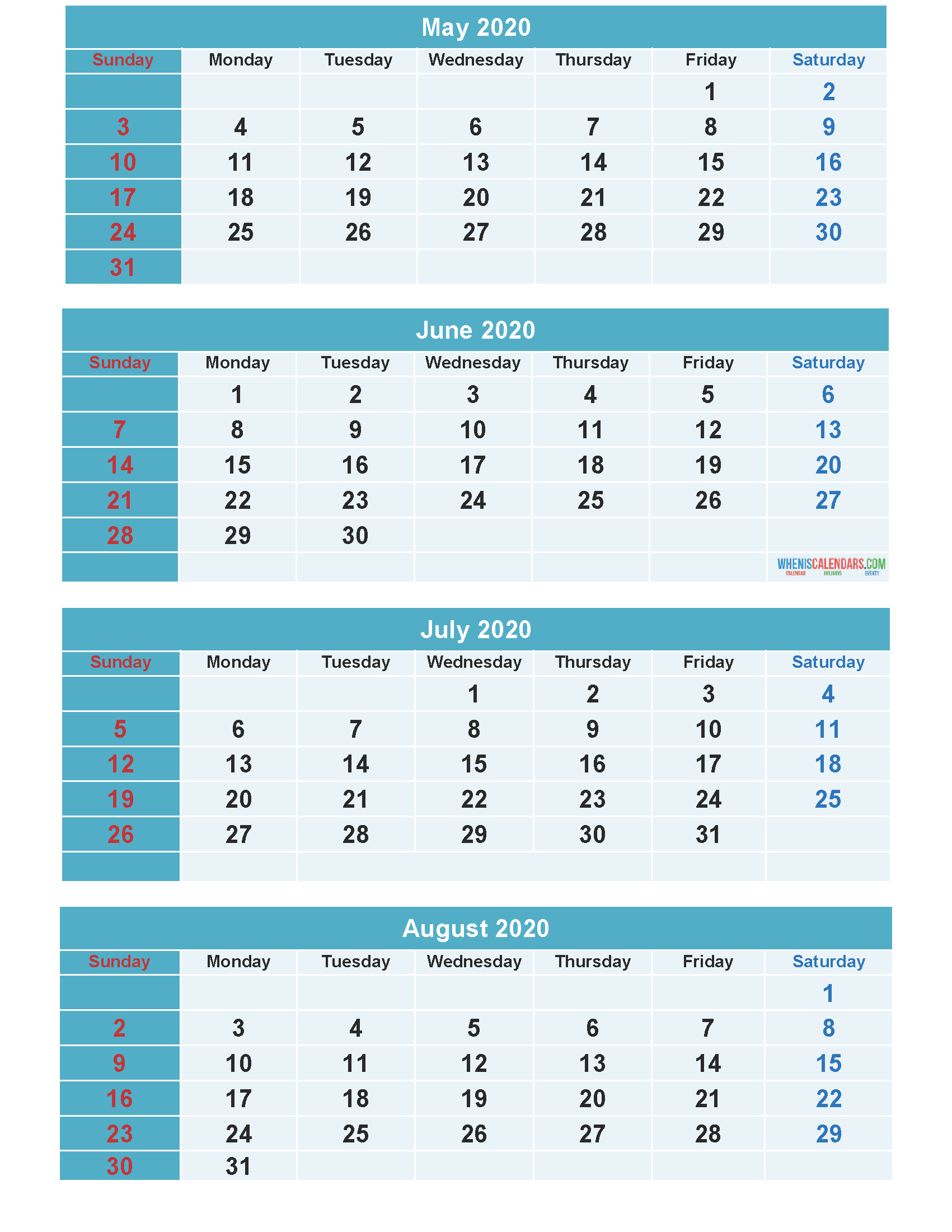 Free Calendar 2020 May June July August Printable