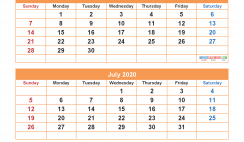 May June July August 2020 Calendar with Holidays for Free