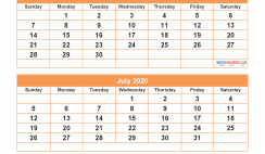 May June July August 2020 Calendar with Holidays Printable Calendar