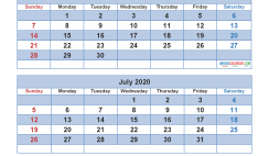 Calendar 2020 May June July August as Word