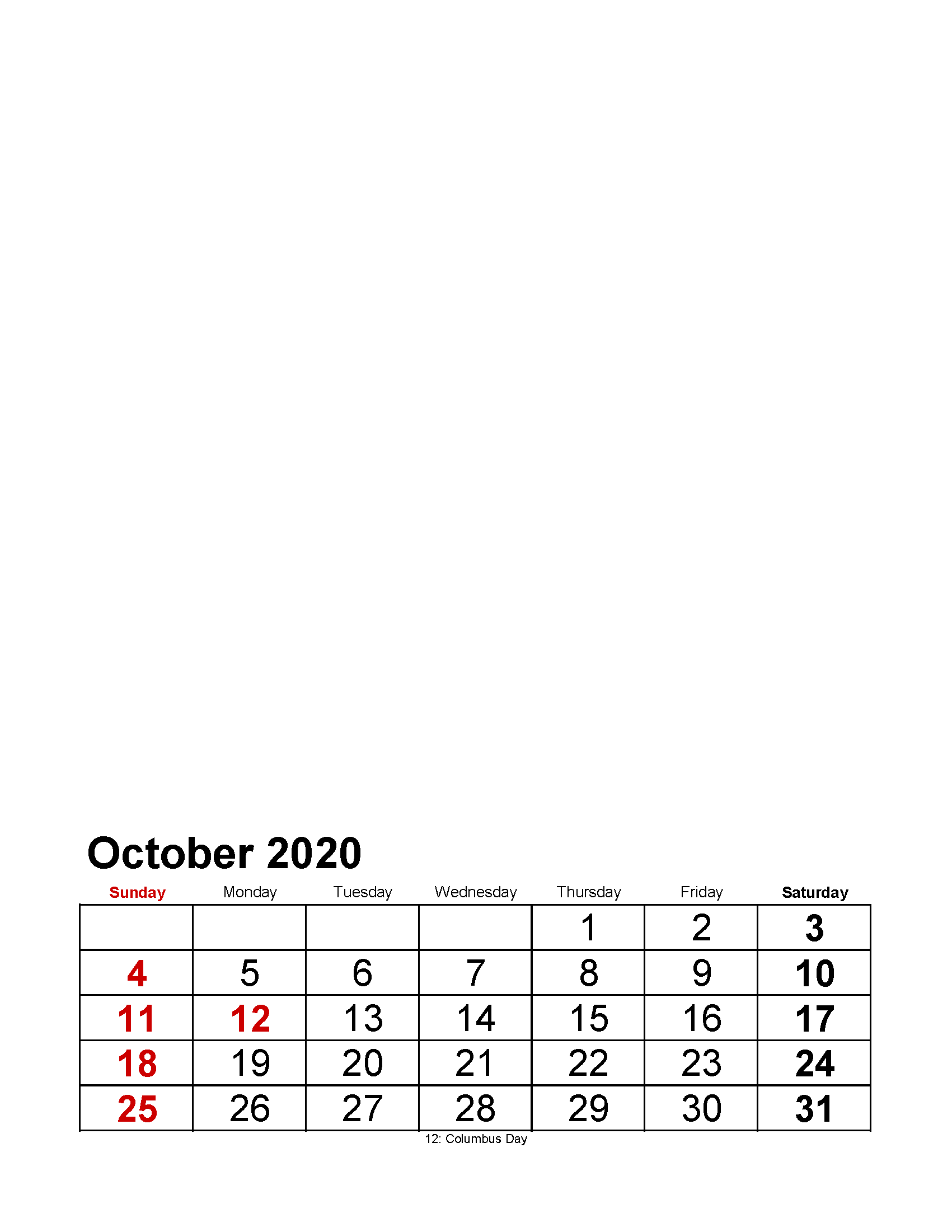 Printable October 2020 Photo Calendar with Holidays Large Numerals