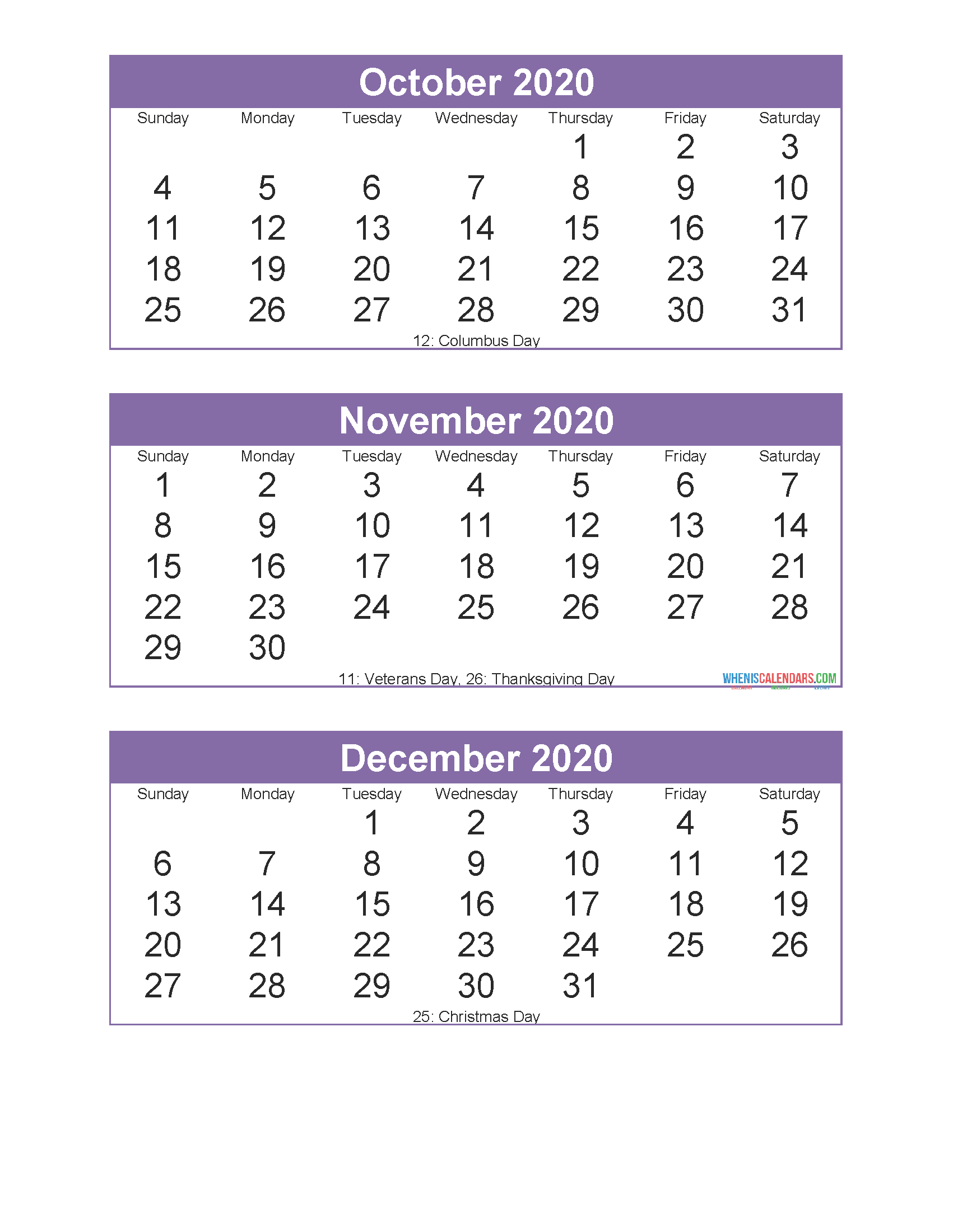 Free Printable 3 Month Calendar 2020 October November December