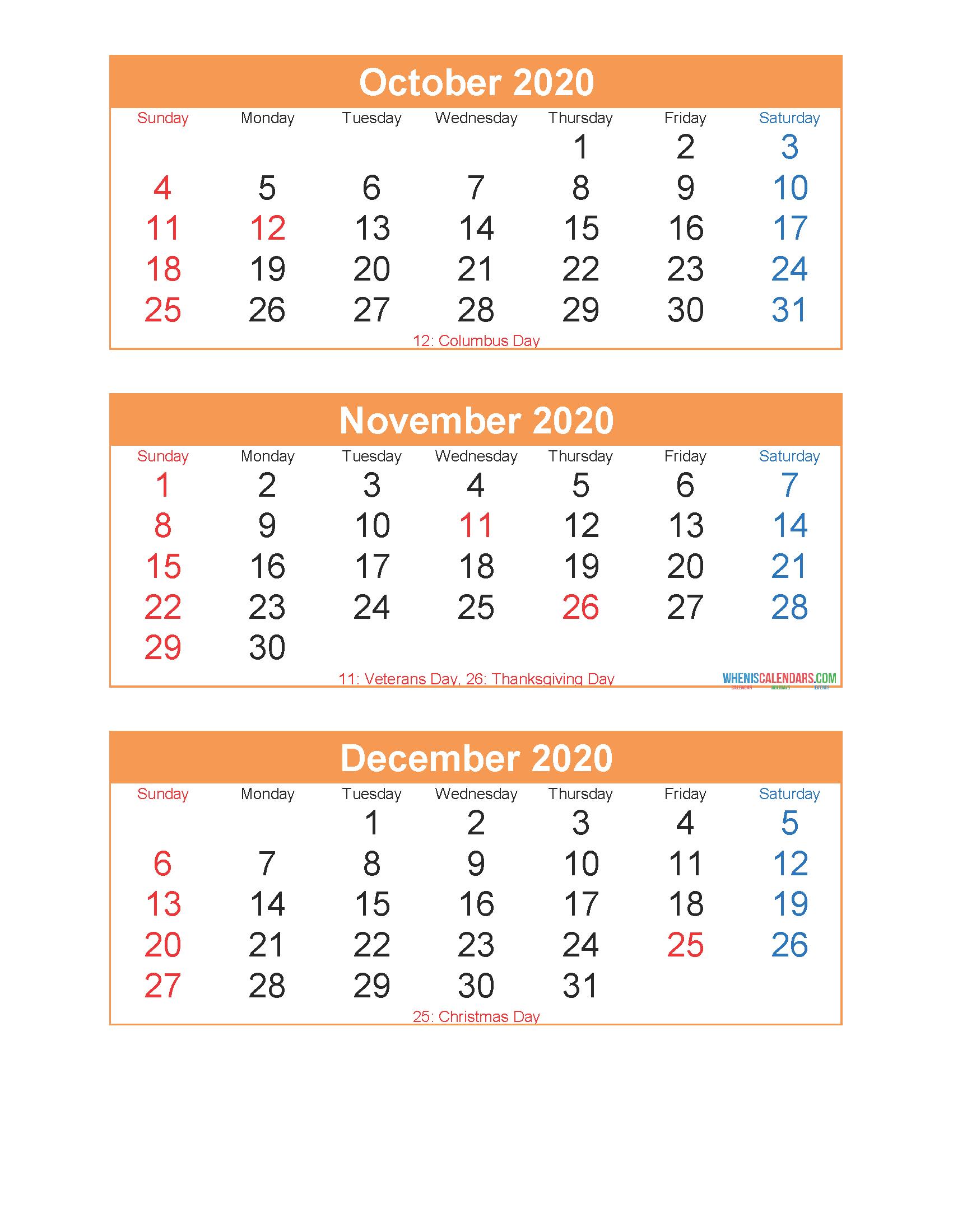 Free Printable 3 Month Calendar 2020 Oct Nov Dec Pdf Excel Free Printable 2020 Monthly Calendar With Holidays