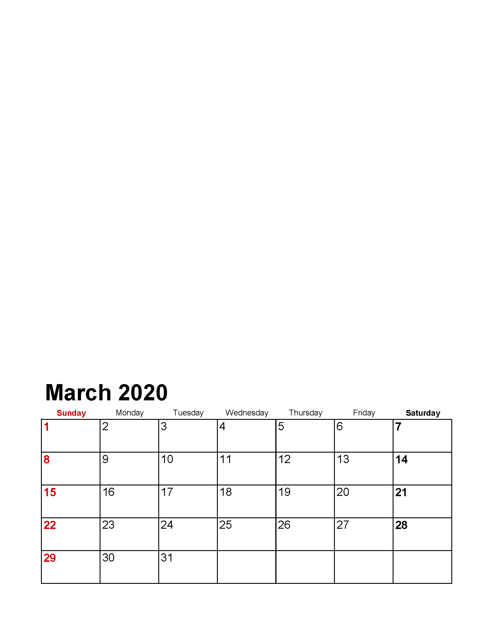 Printable March 2020 Photo Calendar with Holidays Template