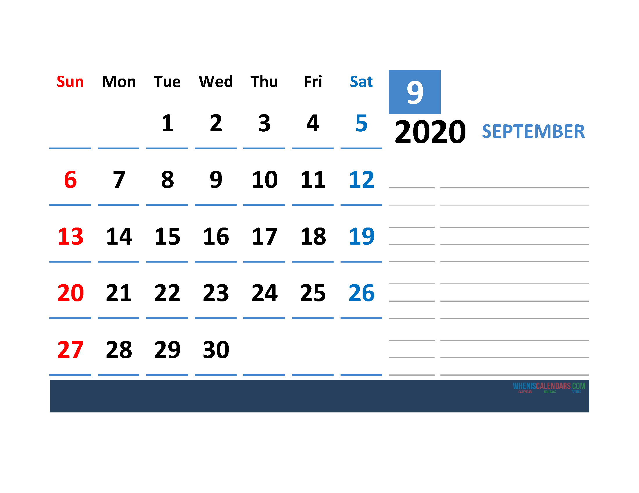 Printable Calendar Template September 2020 Calendar with space for notes
